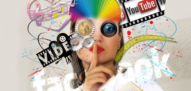 """Marketing graphic featuring YouTube, Facebook, and the word """"video""""."""