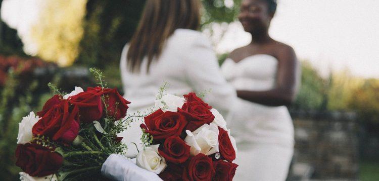 Two women getting married.