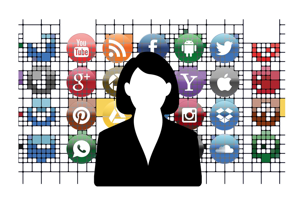 Graphic of a woman standing in front of social media icons.
