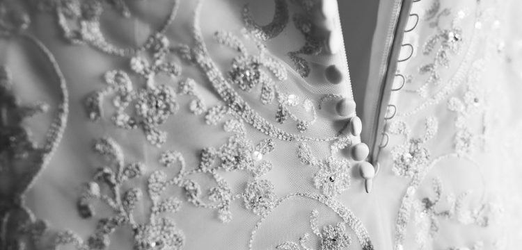 Wedding dress up close.