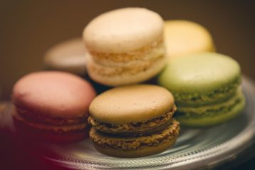 Close up of macaron cookies.
