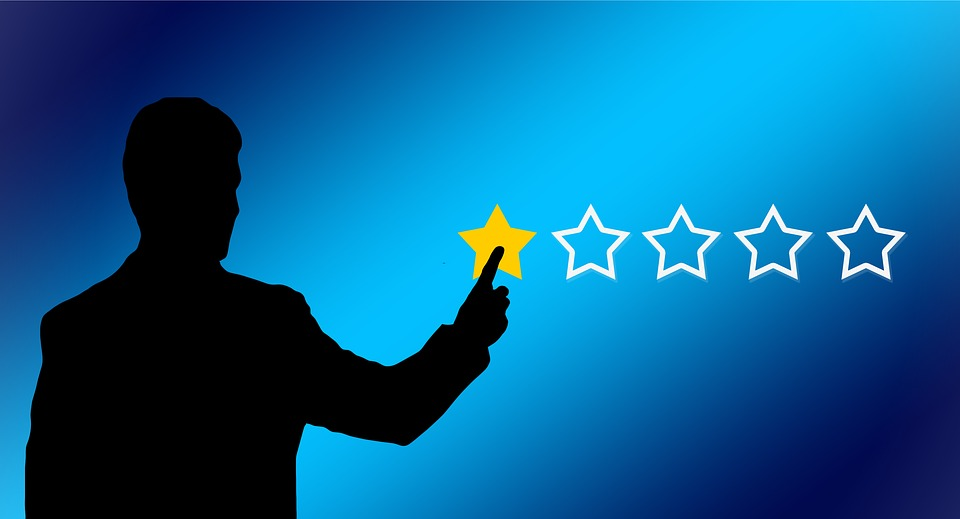 Graphic of someone rating a service as a one star.