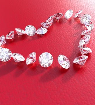 Individual diamonds arranged in the shape of a heart.
