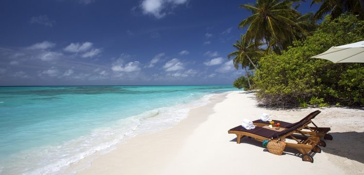 Tropical beach with palm trees, white sand, and two beach chairs.