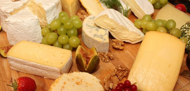 As assortment of gourmet cheeses.