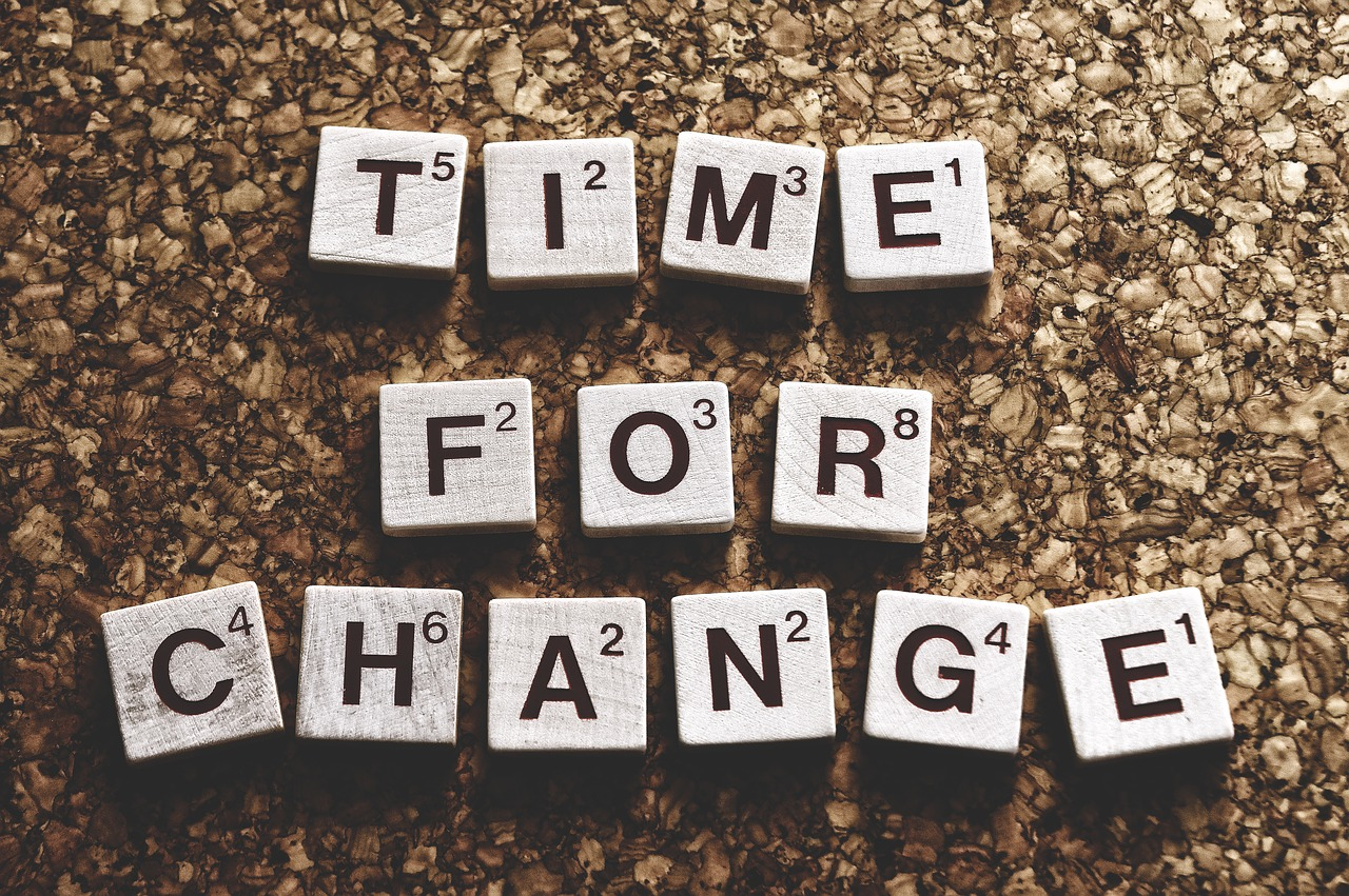 "Scrabble letters that spell out ""Time for Change""."