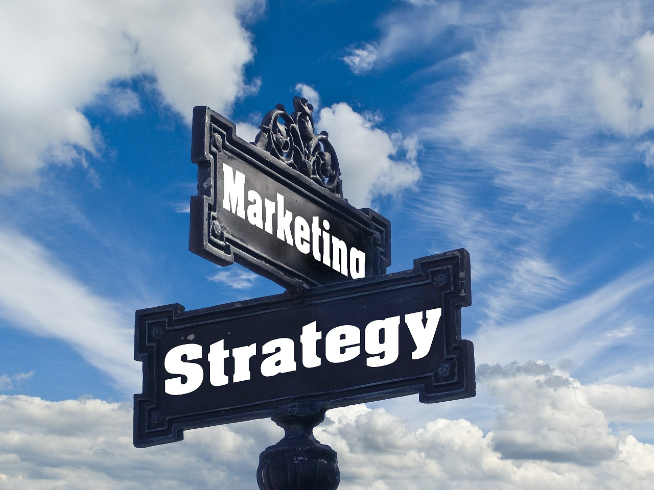 "Signposts that read ""Marketing"" and ""Strategy""."