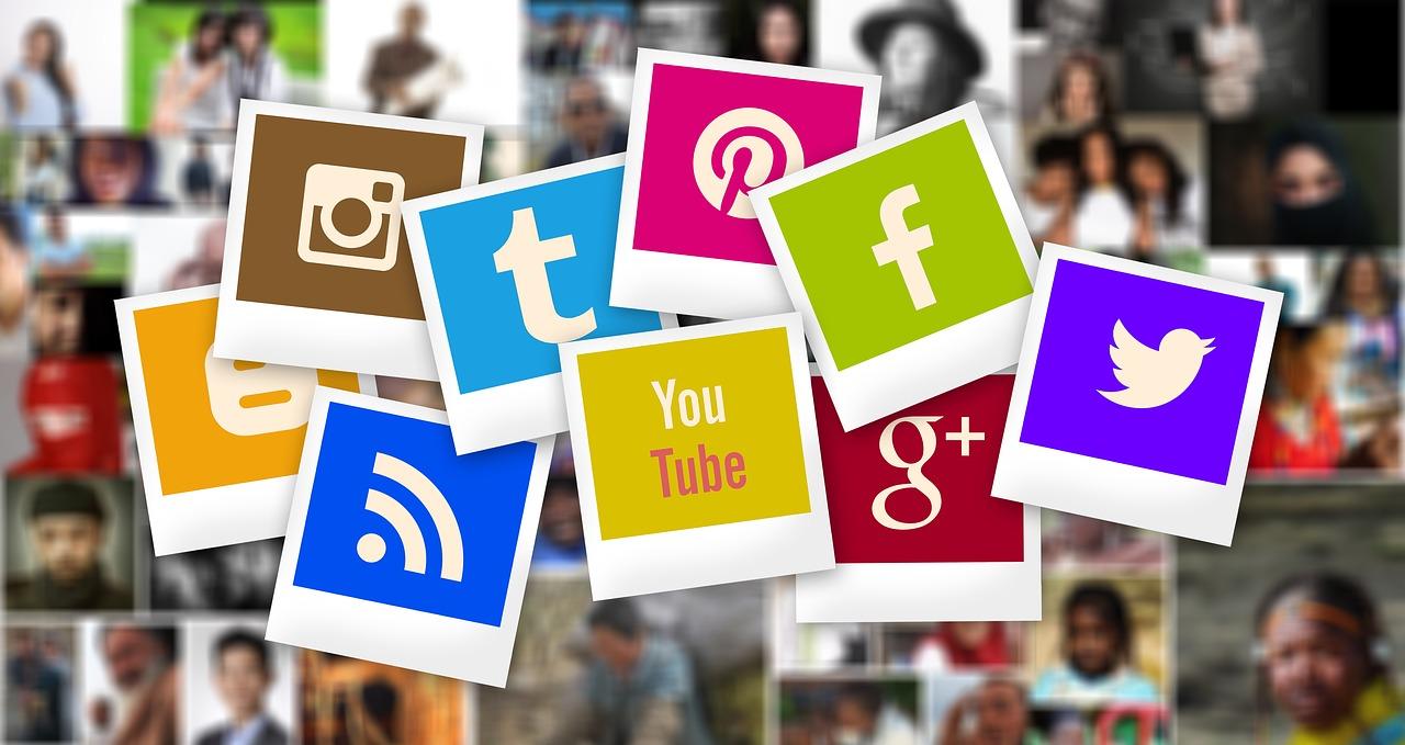 Graphics of several social media networks.