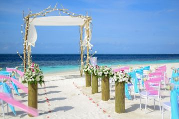 A beach wedding.