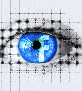 Facebook icon in a graphic of a human eye.