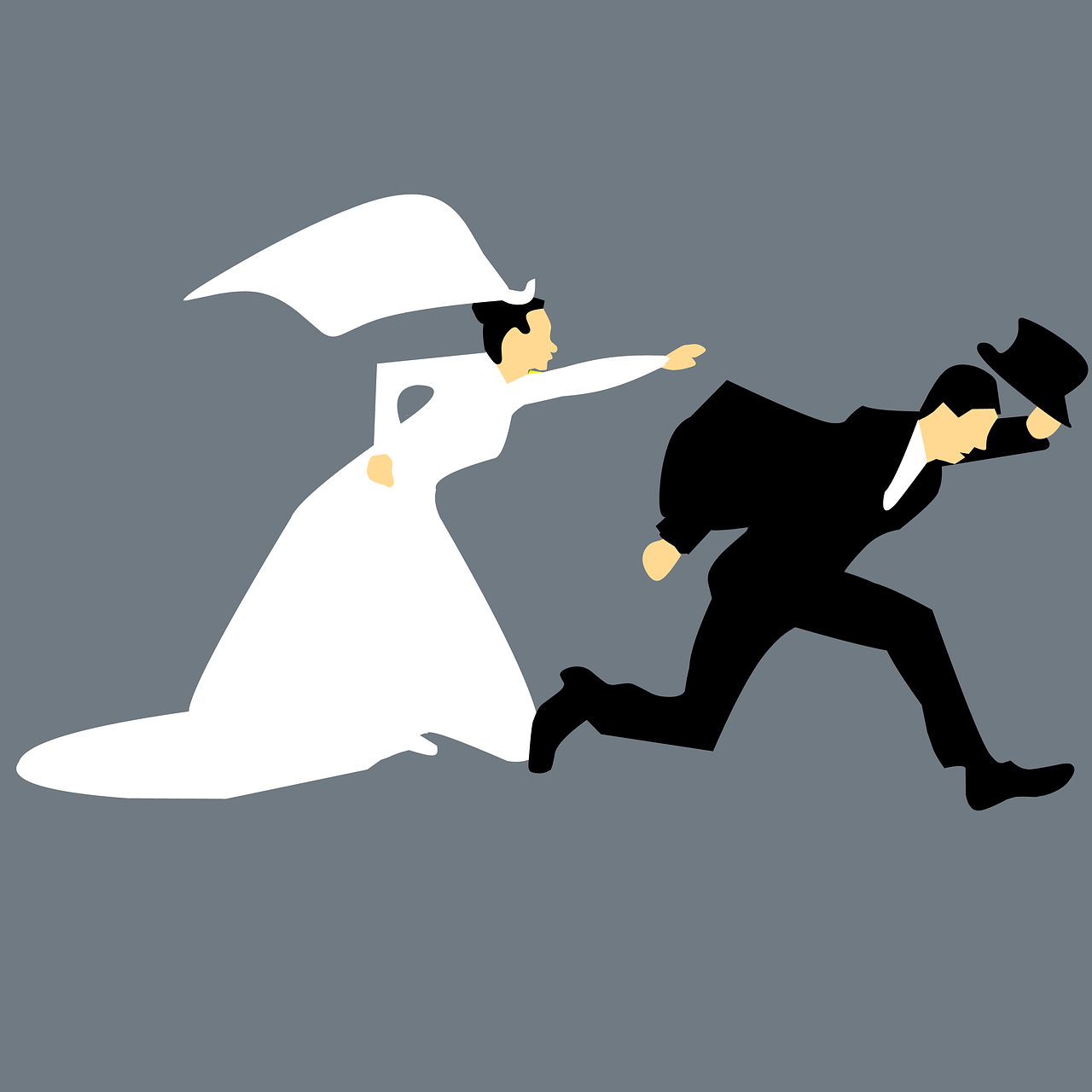 Bride chasing after a groom graphic.
