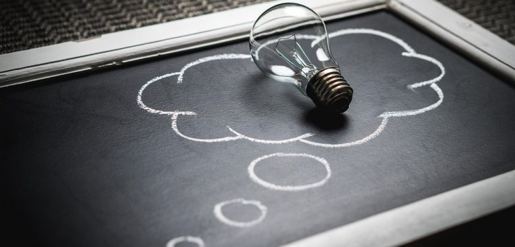 A light bulb which indicates an idea.