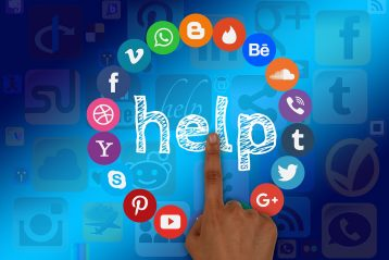 "Graphic with various social media icons on it and the word, ""Help""."