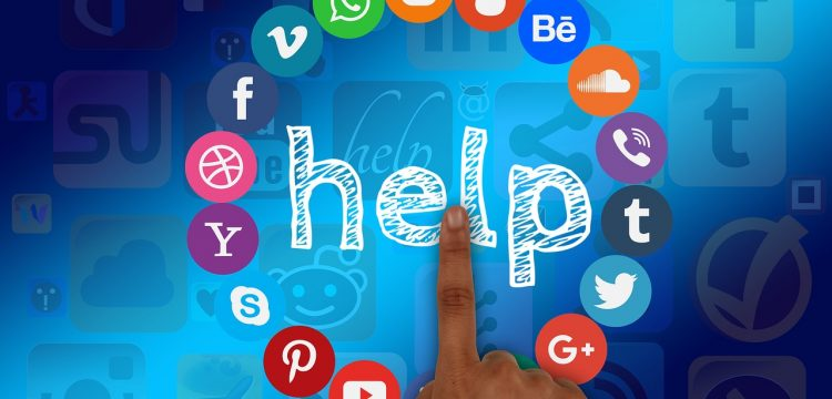 """Graphic with various social media icons on it and the word, """"Help""""."""