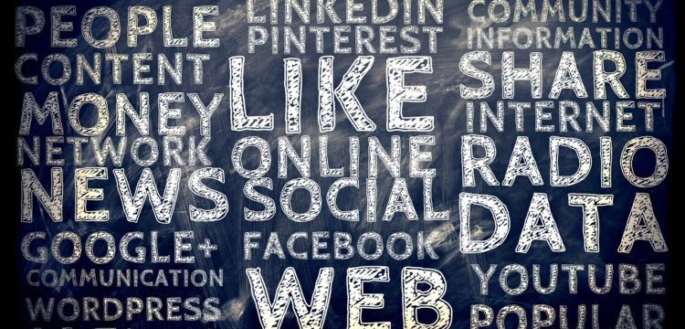 Social media graphic with different platform names on it.