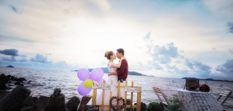Professional wedding photograph of a bride and groom.
