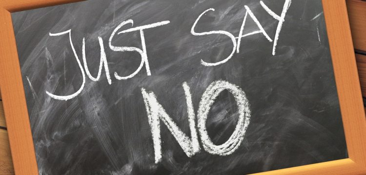 """Chalkboard that reads, """"Just Say No""""."""