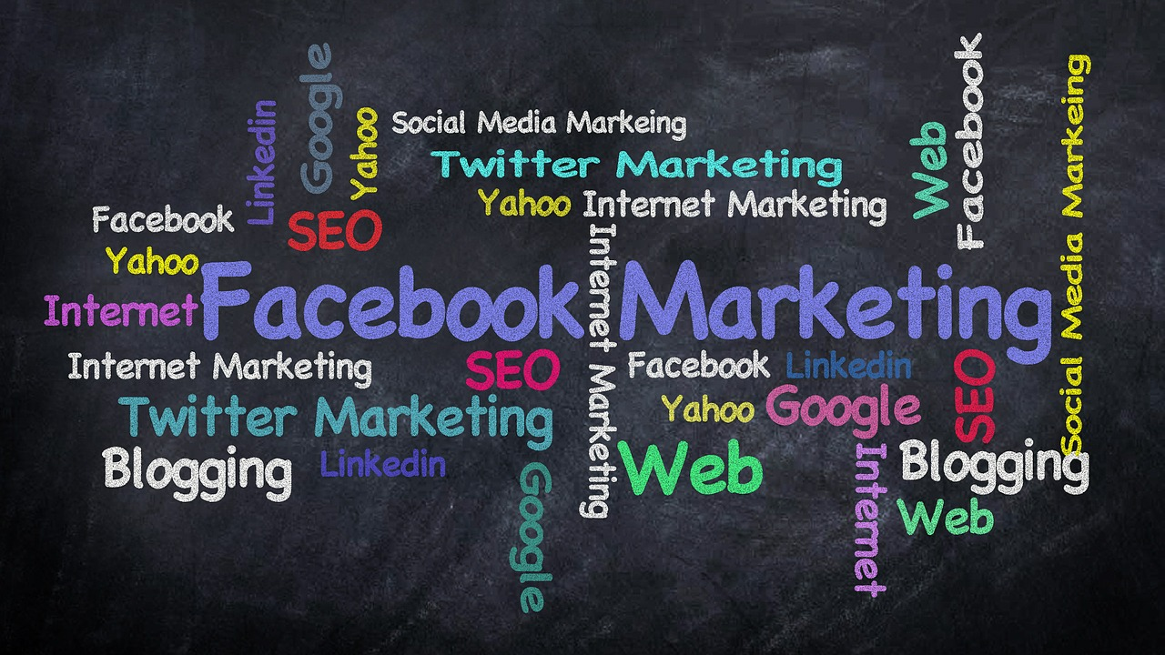 A graphic featuring words having to do with Facebook marketing.