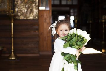 Flower girl in a wedding.