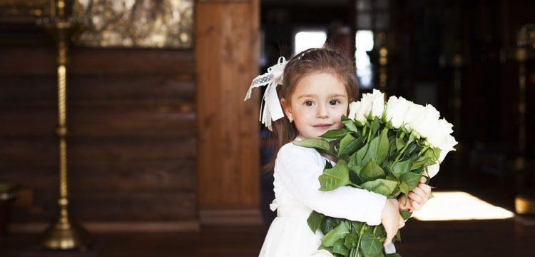 Flower girl in a wedding.