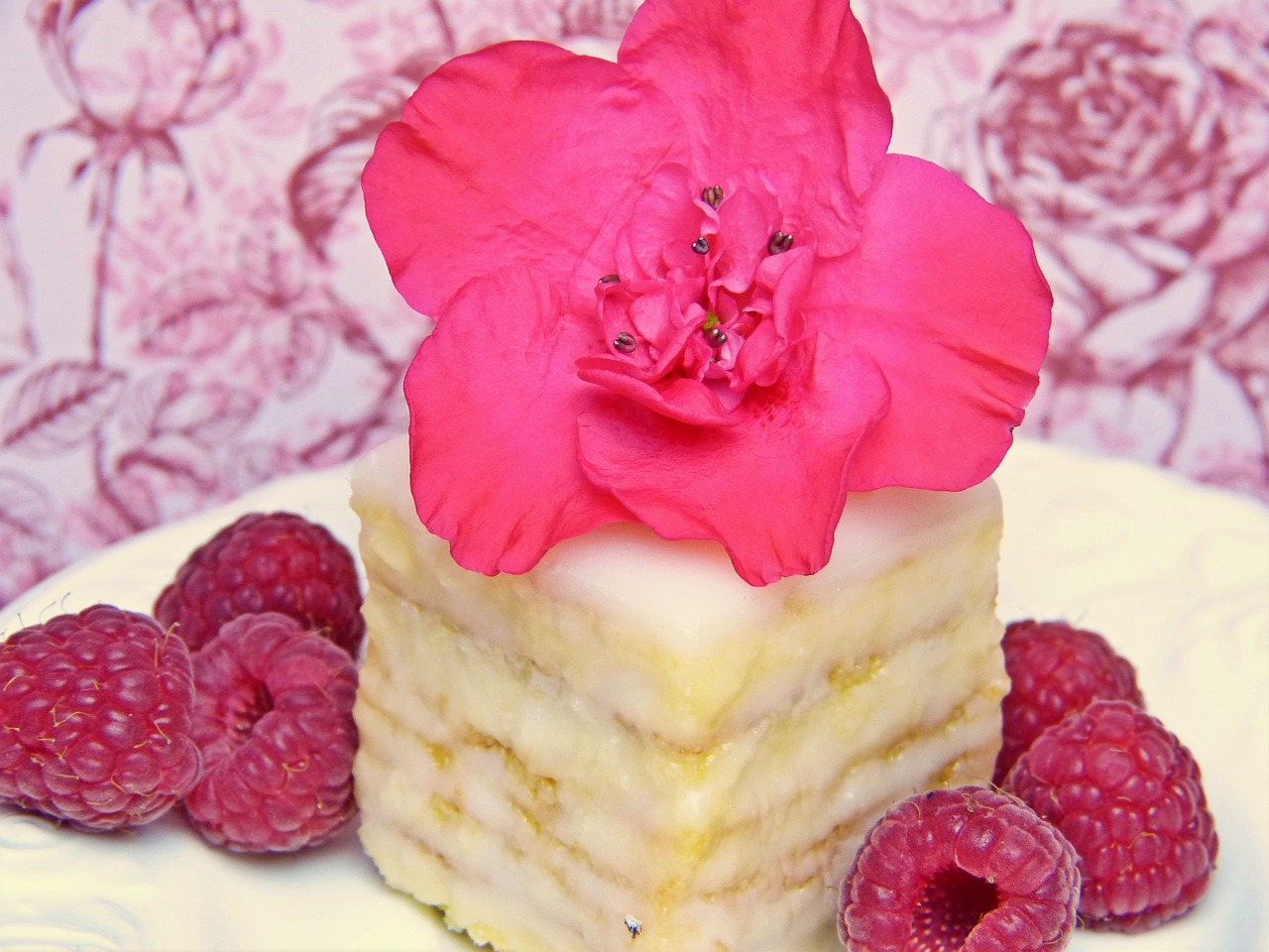 Gluten free cake with red raspberries.