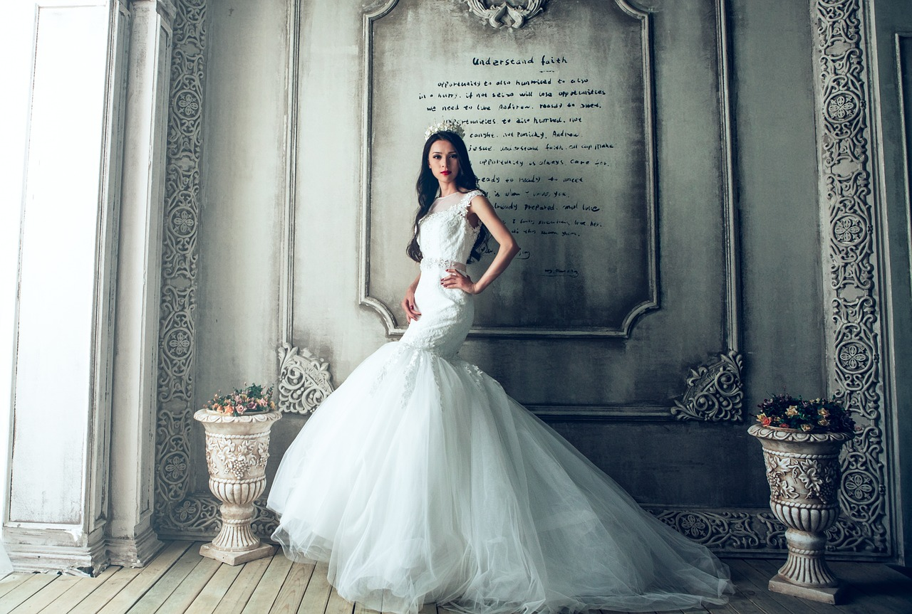 Bride in a fancy wedding gown.