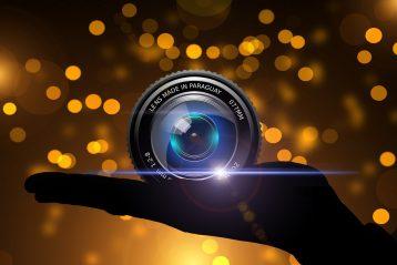 A camera lens.
