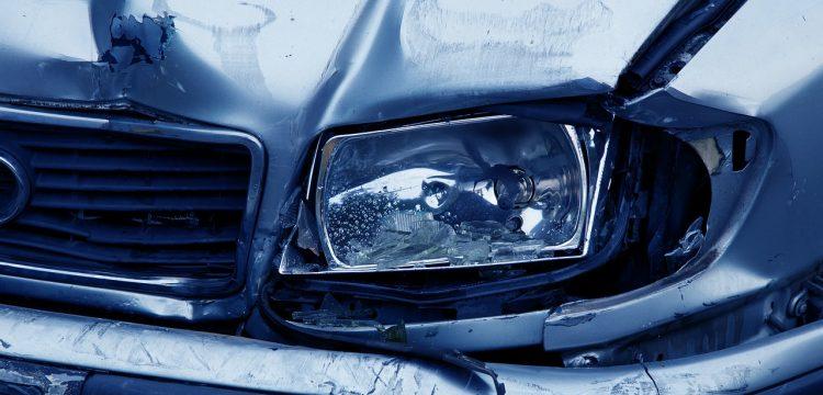 Wrecked car.