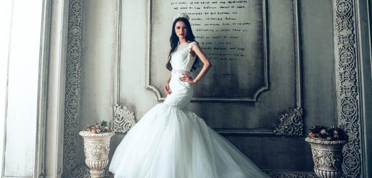 Fancy wedding dress.