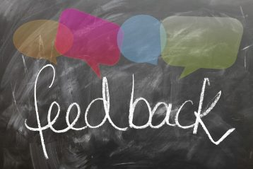 "Chalkboard that reads, ""Feedback""."