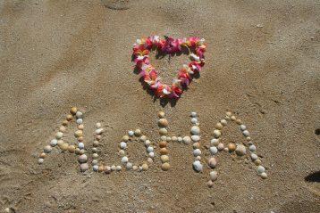 "Seashells on a beach spelling out, ""Aloha""."