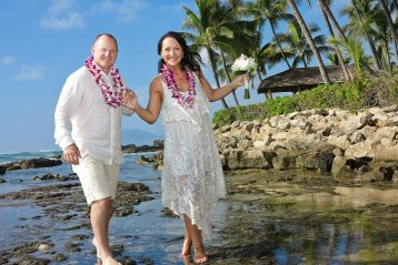 Bride and groom in Hawaii.