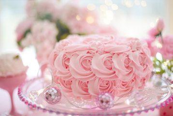 A pink wedding cake.