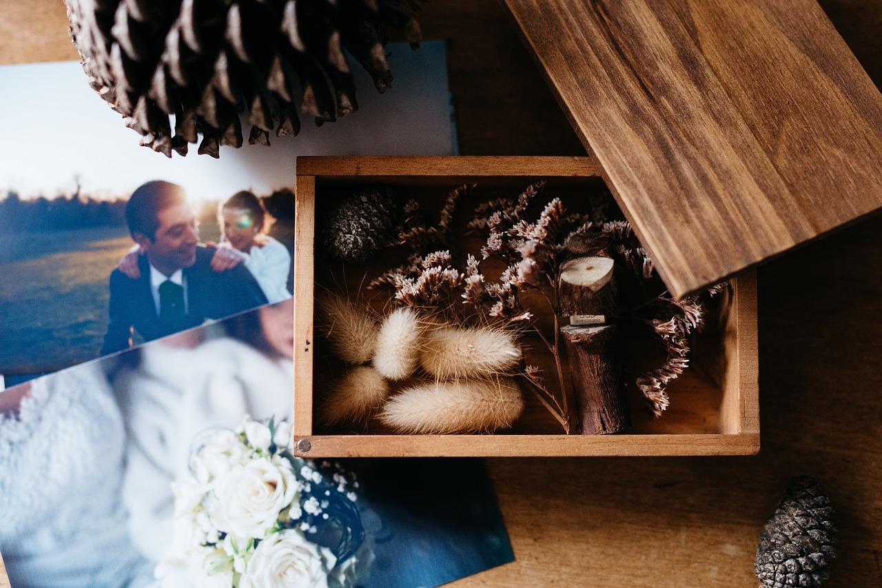 Wedding photos on a table.