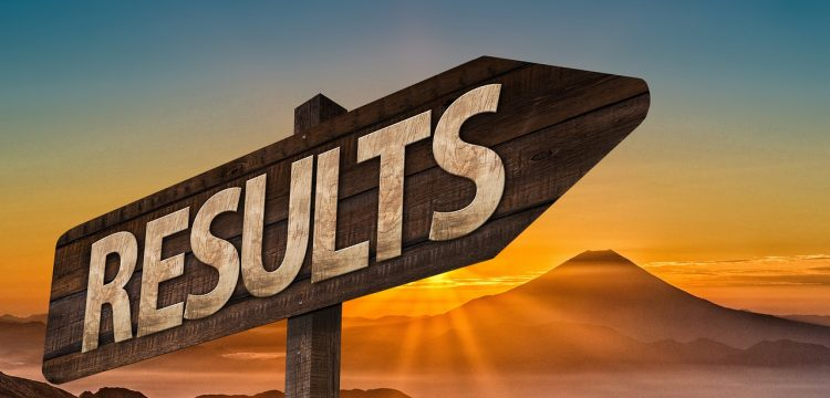"""Sign that reads, """"Results""""."""