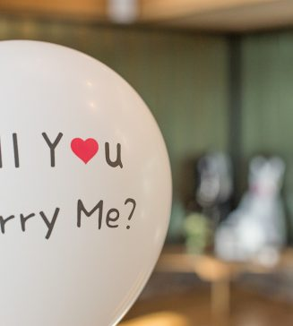 """Balloon that reads, """"Will You Marry Me?""""."""