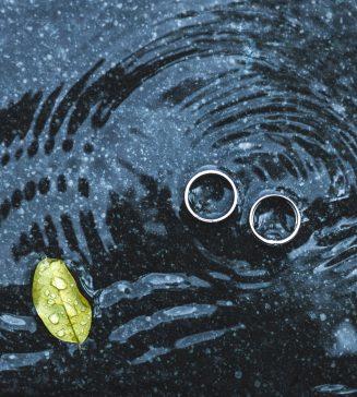 Wedding rings underwater.