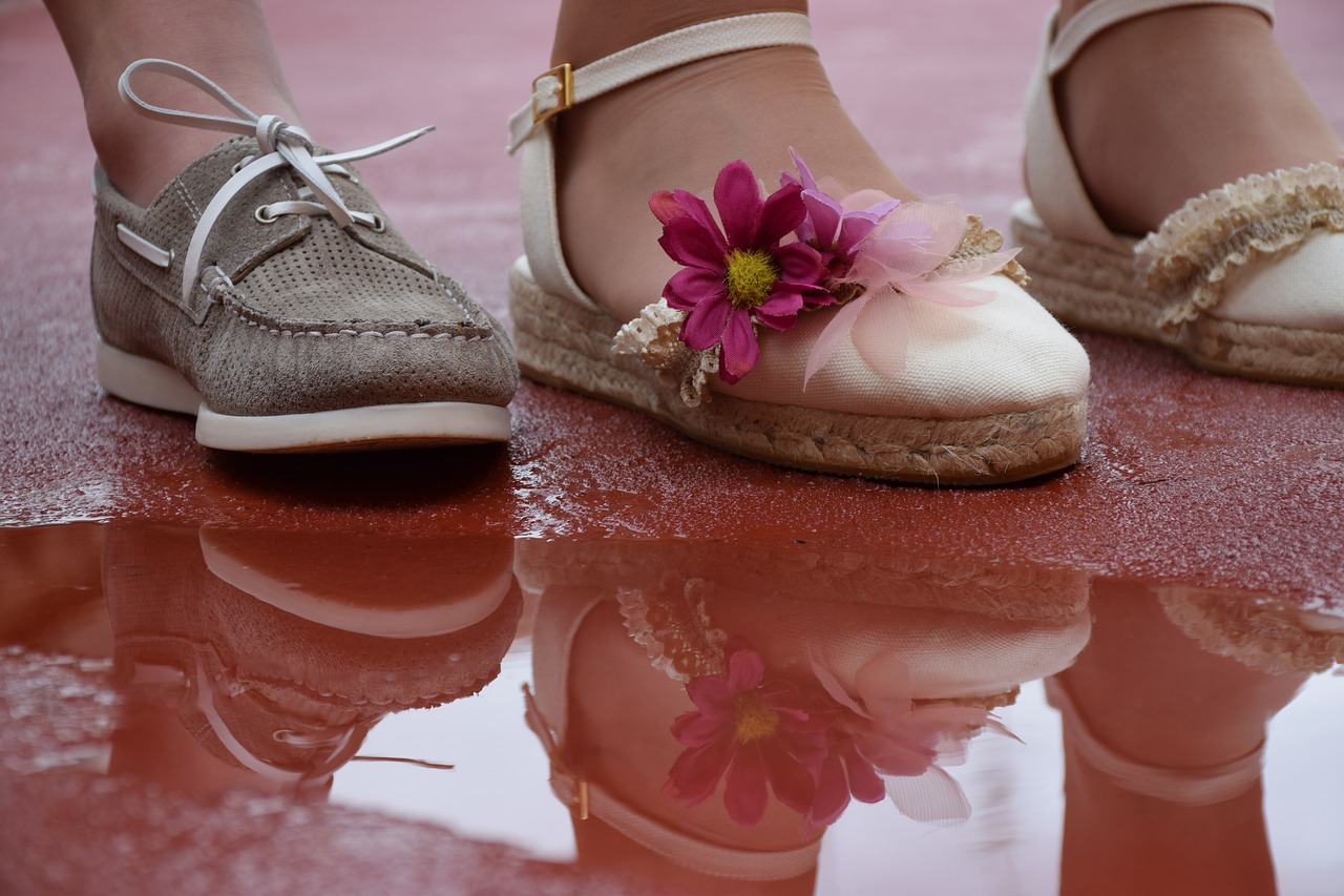 Photo of children's feet wearing nice shoes.