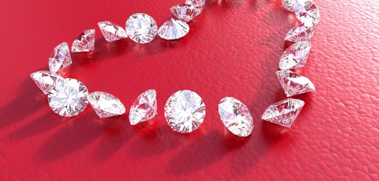 Diamonds in the shape of a heart.