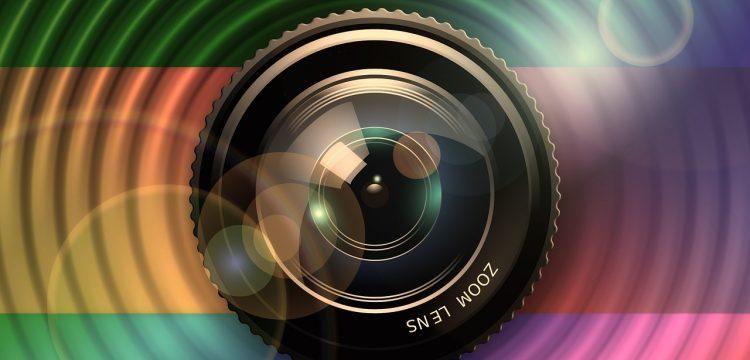 Lens of a camera.