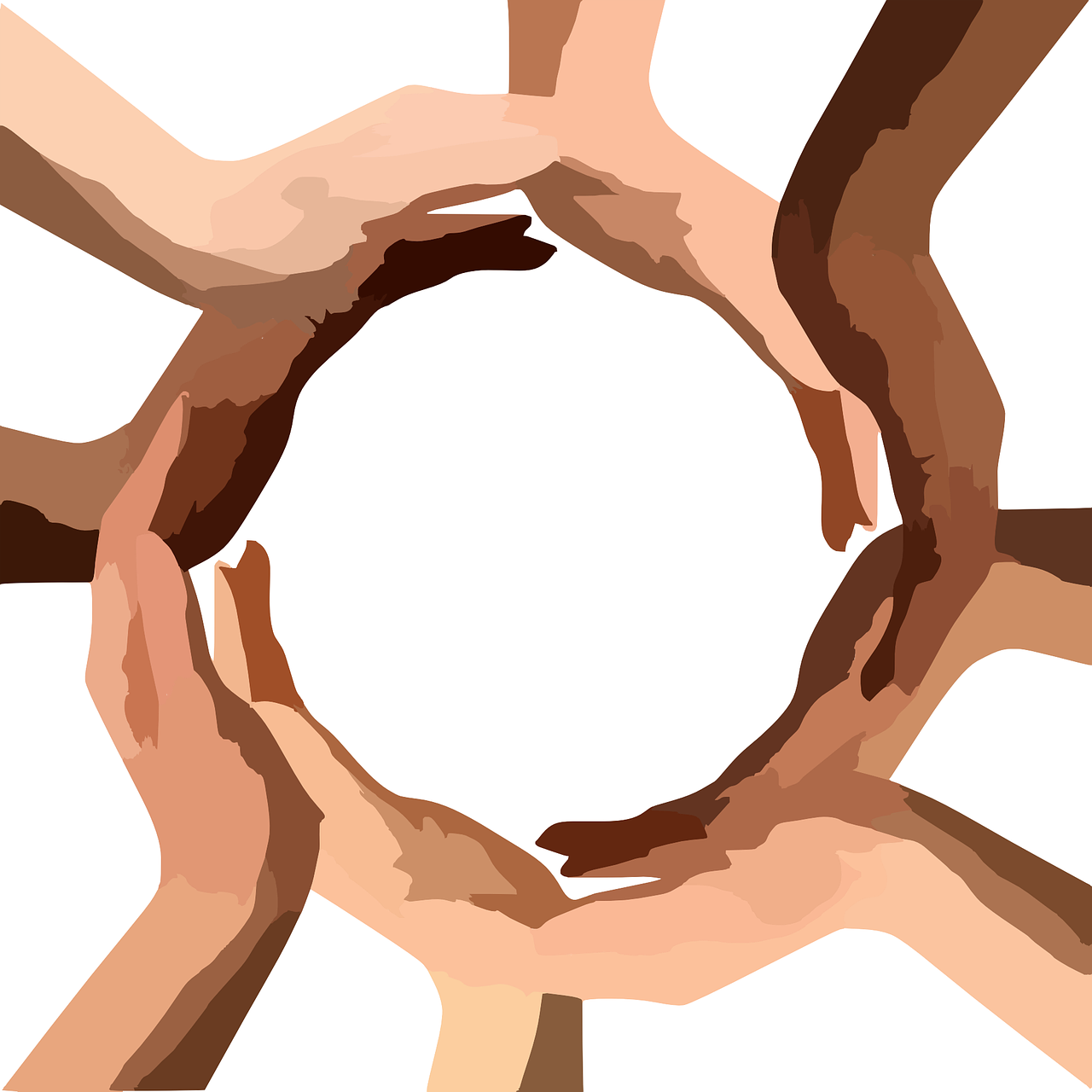 Black and white hands in a circle.