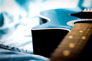A blue guitar.
