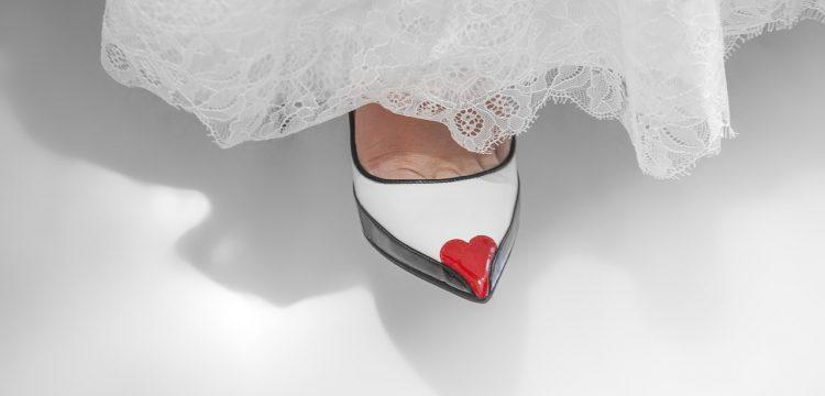Bottom of a wedding dress.