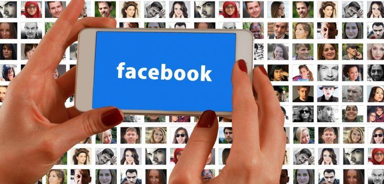 Facebook logo on a cell phone.