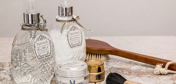 Lotions, brushes, and toiletries.
