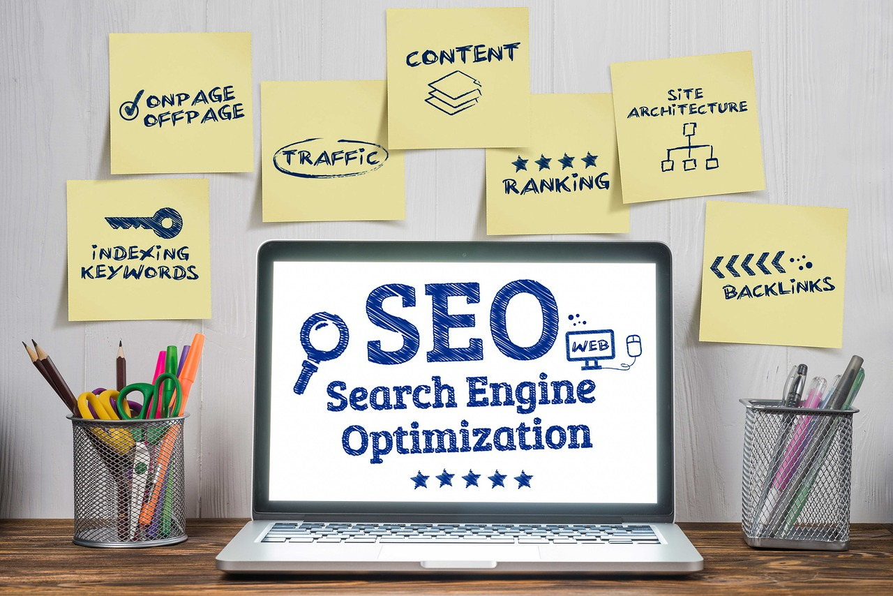 A graphic explaining the parts of SEO.