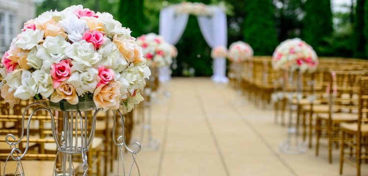 Wedding flowers at a ceremony.
