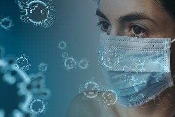 Woman with a medical mask.