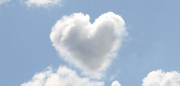 A cloud in the form of a heart.
