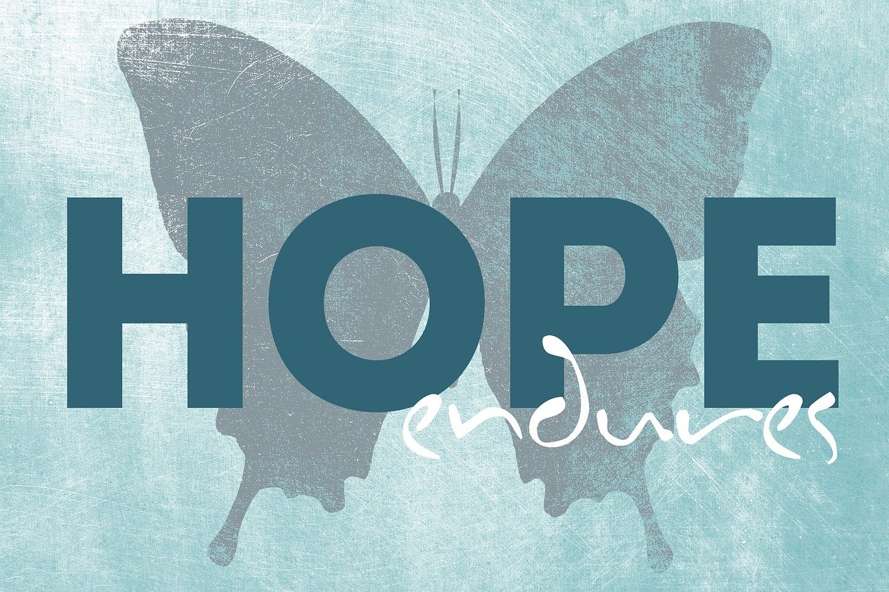 "Text that reads, ""Hope Endures""."